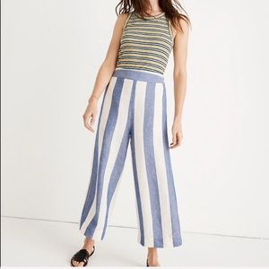 •MADEWELL• Huston Pull On Pants Striped Ivory Blue